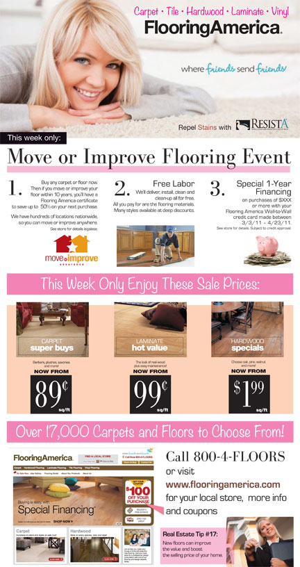 Flooring America full page ad